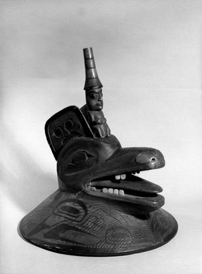 Haida. <em>Clan Hat with Wolf Head</em>, 1868-1901. Cedar, pigment, shell, 10 5/8 x 15 9/16 in. (27 x 39.5 cm). Brooklyn Museum, Brooklyn Museum Collection, X378a-b. Creative Commons-BY (Photo: Brooklyn Museum, X378a-b_acetate_bw.jpg)