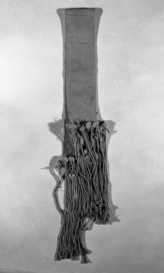 She-we-na (Zuni Pueblo). <em>Sash (for a Wedding)</em>. Cotton, (213.0 x 13.5 cm). Brooklyn Museum, Brooklyn Museum Collection, X389. Creative Commons-BY (Photo: Brooklyn Museum, X389_bw.jpg)