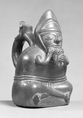 Chimú Inca. <em>Stirrup Spout Bottle depicting a Man Playing a Panpipe</em>, 1470-1532. Ceramic, 7 x 4 1/4 x 6 in. (17.8 x 10.8 x 15.2 cm). Brooklyn Museum, Brooklyn Museum Collection, X487. Creative Commons-BY (Photo: Brooklyn Museum, X487_acetate_bw.jpg)
