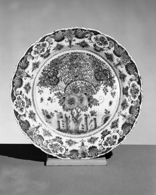 Cornelis van der Hoeve. <em>Delft Plate</em>, 1662. Delft ware, diam.:  12 1/8 in.  (30.8 cm). Brooklyn Museum, Brooklyn Museum Collection, X490. Creative Commons-BY (Photo: Brooklyn Museum, X490_acetate_bw.jpg)