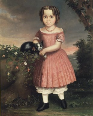 Probably Charles Winter (American, born ca. 1825). <em>Portrait of a Child Holding a Cat</em>, 1851. Oil on canvas, 36 3/16 x 29 1/8 in. (91.9 x 73.9 cm). Brooklyn Museum, Brooklyn Museum Collection, X504.3 (Photo: Brooklyn Museum, X504.3_transp3110.jpg)