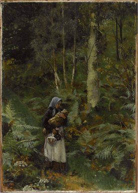 Lady Laura Theresa Alma-Tadema (British, 1852-1909). <em>With a Babe in the Woods</em>, ca. 1879-1880. Oil on canvas mounted on panel, 12 1/4 x 9 in. (31.1 x 22.9 cm). Brooklyn Museum, Brooklyn Museum Collection, X509 (Photo: Brooklyn Museum, X509_PS1.jpg)