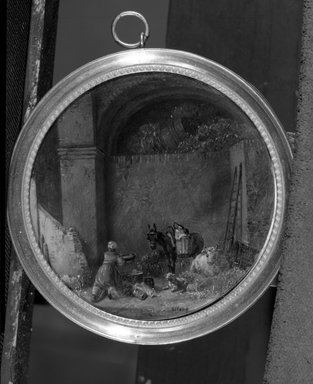 Unknown. <em>Miniature of Stable Scene</em>., frame:  3 3/4 in.  (9.5 cm);. Brooklyn Museum, Brooklyn Museum Collection, X510 (Photo: Brooklyn Museum, X510_bw_SL4.jpg)