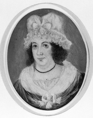Unknown. <em>Portrait of a Woman</em>, ca. 1790. Watercolor on ivory portrait with copper locket (back only), Image: 2 3/8 x 1 3/8 in. (6 x 3.5 cm). Brooklyn Museum, Brooklyn Museum Collection, X511 (Photo: Brooklyn Museum, X511_bw_SL1.jpg)