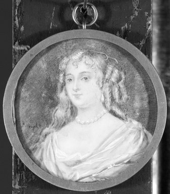 Charles Edward Wagstaff (British, born 1808). <em>Portrait of a Young Lady</em>, n.d. Watercolor on ivory portrait in metal locket under glass lens, Image (sight): 2 x 2 in. (5.1 x 5.1 cm). Brooklyn Museum, Brooklyn Museum Collection, X512 (Photo: Brooklyn Museum, X512_bw_SL1.jpg)