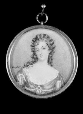 Charles Edward Wagstaff (British, born 1808). <em>Portrait of a Young Lady</em>, n.d. Watercolor on ivory in metal locket with glass lens, Image (sight): 2 x 2 in. (5.1 x 5.1 cm). Brooklyn Museum, Brooklyn Museum Collection, X513 (Photo: Brooklyn Museum, X513_edited_bw_SL1.jpg)