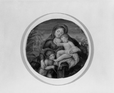 Unknown. <em>Miniature of Madonna, Child and St. John</em>., frame:  3 7/16 x 13/16 in.  (8.7 x 2.1 cm). Brooklyn Museum, Brooklyn Museum Collection, X514 (Photo: Brooklyn Museum, X514_bw.jpg)