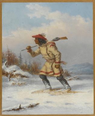 Cornelius Krieghoff (Canadian, 1815-1872). <em>Following the Moose</em>, ca. 1860. Oil on canvas, 11 1/8 x 9 3/16 in. (28.2 x 23.3 cm). Brooklyn Museum, Brooklyn Museum Collection, X516 (Photo: Brooklyn Museum, X516_PS1.jpg)
