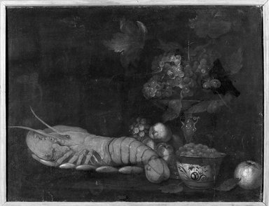 John David de Heem (Dutch, 1604-1674). <em>Lobster and Fruit</em>. Oil on canvas mounted on board, 25 x 32 3/4 in.  (63.5 x 83.2 cm). Brooklyn Museum, Brooklyn Museum Collection, X520 (Photo: Brooklyn Museum, X520_framed_bw.jpg)