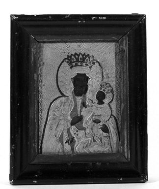 Unknown. <em>Miniature Madonna and Child</em>. Miniature, 3 1/6 x 2 5/16 in.  (8.0 x 5.9 cm). Brooklyn Museum, Brooklyn Museum Collection, X522 (Photo: Brooklyn Museum, X522_framed_front_bw.jpg)