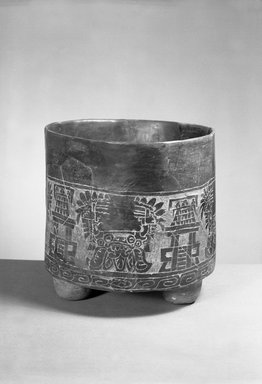 <em>Engraved Tripod Bowl</em>, 200 B.C.E.-700 C.E., 10 1/2 x 11 in.  (26.7 x 27.9 cm). Brooklyn Museum, Brooklyn Museum Collection, X523. Creative Commons-BY (Photo: Brooklyn Museum, X523_acetate_bw.jpg)