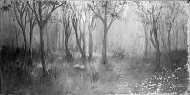 Unknown. <em>Landscape (Trees)</em>., 15 × 30 in. (38.1 × 76.2 cm). Brooklyn Museum, Brooklyn Museum Collection, X525 (Photo: Brooklyn Museum, X525_cropped_bw.jpg)