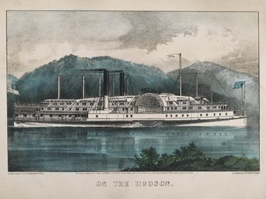 Currier & Ives (American). <em>On the Hudson</em>, 1869. Lithograph, hand-colored on wove paper, 8 x 12 1/2 in.  (20.3 x 31.8 cm). Brooklyn Museum, Brooklyn Museum Collection, X598.3 (Photo: Brooklyn Museum, X598.3_PS2.jpg)