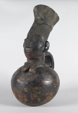 Mangbetu. <em>Anthropomorphic Vessel</em>, early 20th century. Terracotta, 16 3/8 x 7 7/8 x 4 3/8 in. (41.5 x 20.0 x 12.0 cm). Brooklyn Museum, Brooklyn Museum Collection, X601. Creative Commons-BY (Photo: Brooklyn Museum, X601_PS5.jpg)