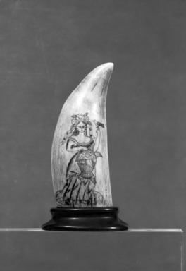 <em>Scrimshaw Work, Sperm Whale's Tooth</em>, ca. 1830., 6 7/8 x 3 5/8 in.  (17.5 x 9.2 cm). Brooklyn Museum, Brooklyn Museum Collection, X613.3. Creative Commons-BY (Photo: Brooklyn Museum, X613.3_side2_bw_SL4.jpg)