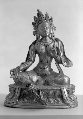 <em>Green Tara</em>, 18th-19th century. Gilt bronze, 11 x 8 1/2 in.  (27.9 x 21.6 cm). Brooklyn Museum, Brooklyn Museum Collection, X620. Creative Commons-BY (Photo: Brooklyn Museum, X620_bw.jpg)