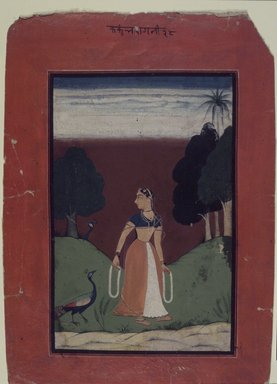 Indian. <em>Kakubha Ragini, Page from a Dispersed Ragamala Series</em>, ca. 1727 (?). Opaque watercolor on paper, sheet: 10 x 7 1/8 in.  (25.4 x 18.1 cm). Brooklyn Museum, Brooklyn Museum Collection, X623.1 (Photo: Brooklyn Museum, X623.1_transp4577.jpg)