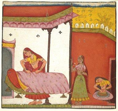 Indian. <em>Vasaka Sajja Nayika</em>, ca. 1690. Opaque watercolor on paper, sheet: 6 15/16 x 6 3/4 in.  (17.6 x 17.1 cm). Brooklyn Museum, Brooklyn Museum Collection, X623.2 (Photo: Brooklyn Museum, X623.2_IMLS_SL2.jpg)