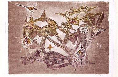 Boris Margo (American, 1902-1995). <em>Jewels in Levitation</em>, 1949. Cellocut on paper, 16 1/8 x 22 1/4 in.  (41.0 x 56.5 cm). Brooklyn Museum, Brooklyn Museum Collection, X625.2. © artist or artist's estate (Photo: Brooklyn Museum, X625.2_SL4.jpg)