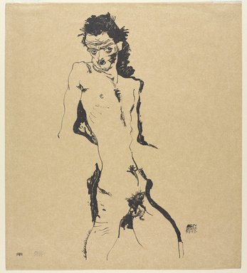 Egon Schiele (Austrian, 1890-1918). <em>Male Nude (Self-Portrait) (Männlicher Akt [Selbstbildnis I])</em>, 1912. Lithograph on wove paper, Image: 16 3/8 x 9 3/8 in. (41.6 x 23.8 cm). Brooklyn Museum, Brooklyn Museum Collection, X625.3 (Photo: Brooklyn Museum, X625.3_PS9.jpg)