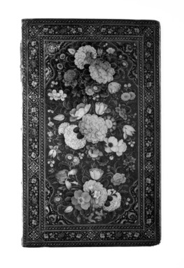 <em>Mirror Case Cover</em>, 1854-1855. Lacquer, paper mache, 6 x 10 in.  (15.2 x 25.4 cm). Brooklyn Museum, Brooklyn Museum Collection, X627.1 (Photo: Brooklyn Museum, X627.1a_front_bw.jpg)