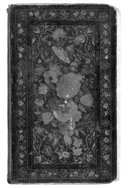 <em>Book binding</em>, mid-19th century. Lacquer, paper mache, 4 3/4 x 8 1/8 in.  (12.1 x 20.6 cm). Brooklyn Museum, Brooklyn Museum Collection, X627.3 (Photo: Brooklyn Museum, X627.3_cover_recto_bw.jpg)