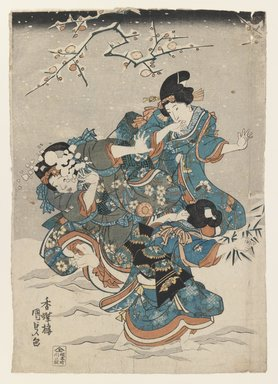 Utagawa Kunisada (Toyokuni III) (Japanese, 1786-1865). <em>Women and Children Playing in Snow</em>, 1830-1839. Color woodblock print on paper, 9 13/16 x 14 in.  (25.0 x 35.5 cm). Brooklyn Museum, Brooklyn Museum Collection, X632.2 (Photo: , X632.2_IMLS_PS3.jpg)