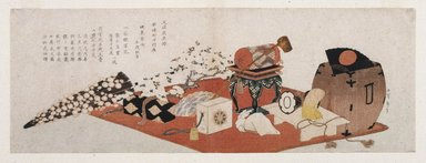 Katsushika Hokusai (Japanese, 1760-1849). <em>Announcement of a Farewell Performance of Bando Mitsugoro III</em>, 1820. Color woodblock print, 21 7/8 x 7 11/16 in.  (55.2 x 19.8 cm). Brooklyn Museum, Brooklyn Museum Collection, X632.3 (Photo: Brooklyn Museum, X632.3_print_IMLS_SL2.jpg)