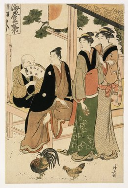 Torii Kiyonaga (Japanese, 1752-1815). <em>A Matchmaking Meeting at a Teahouse by a Shrine</em>, circa 1784. Color woodblock print, 9 7/8 x 14 15/16 in.  (25.1 x 38.0 cm). Brooklyn Museum, Brooklyn Museum Collection, X632.4 (Photo: Brooklyn Museum, X632.4_print_IMLS_SL2.jpg)