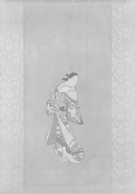 <em>Lady of the Yoshiwara</em>, ca. 18th century. Opaque watercolors on paper, 20 5/8 x 10 1/4 in.  (52.4 x 26.0 cm). Brooklyn Museum, Brooklyn Museum Collection, X642 (Photo: Brooklyn Museum, X642_bw_IMLS.jpg)