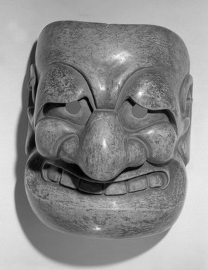 <em>Theatrical Mask</em>, 1600-1867. Wood with lacquer, 7 1/4 x 5 in.  (18.4 x 12.7 cm). Brooklyn Museum, Brooklyn Museum Collection, X643.2. Creative Commons-BY (Photo: Brooklyn Museum, X643.2_front_acetate_bw.jpg)