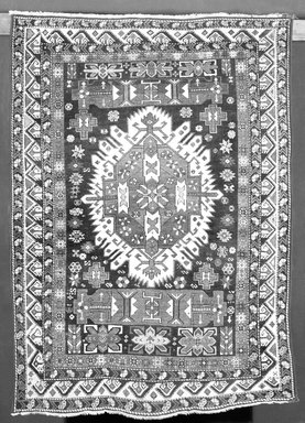 <em>Rug</em>, 18th or 19th century. Polychrome wool, 68 x 47 3/4 in.  (172.7 x 121.3 cm). Brooklyn Museum, Brooklyn Museum Collection, X644. Creative Commons-BY (Photo: Brooklyn Museum, X644_bw.jpg)