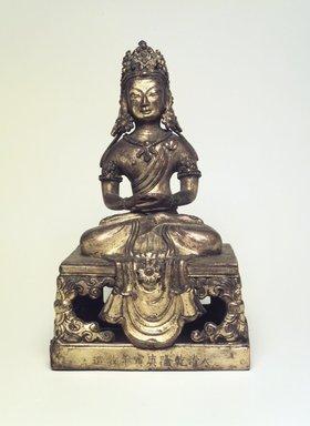 <em>Seated Kuan Yin</em>, 1736-1795. Gilt bronze, 7 3/4 x 4 1/2 in. (19.7 x 11.4 cm). Brooklyn Museum, Brooklyn Museum Collection, X658.1. Creative Commons-BY (Photo: Brooklyn Museum, X658.1.jpg)
