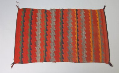 Navajo. <em>Women's Germantown Shoulder Blanket or Saddle Blanket</em>, ca. 1880. Wool, dye, 50 x 30 1/2in. (127 x 77.5cm). Brooklyn Museum, Brooklyn Museum Collection, X670. Creative Commons-BY (Photo: Brooklyn Museum, X670_PS5.jpg)
