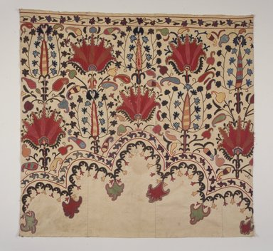 <em>Textile fragment, border originally part of niche design.</em>, 19th/20th century. Cotton, multicolored embroidery, 38 3/8 x 40 3/16 in. (97.5 x 102 cm). Brooklyn Museum, Brooklyn Museum Collection, X674. Creative Commons-BY (Photo: Brooklyn Museum, X674_transp5982.jpg)