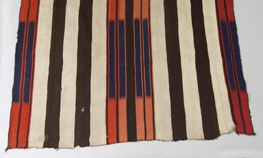 Navajo. <em>Chief's Blanket</em>, 1863-1868. Wool, dye, 58 1/2 x 78 in. (148.0 x 198.0 cm). Brooklyn Museum, Brooklyn Museum Collection, X675. Creative Commons-BY (Photo: Brooklyn Museum, X675_view1_PS5.jpg)