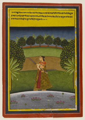Indian. <em>Gauri Ragini, Page from a Dispersed Ragamala Series</em>, early 19th century. Opaque watercolor and gold on paper, sheet: 10 9/16 x 7 5/16 in.  (26.8 x 18.6 cm). Brooklyn Museum, Brooklyn Museum Collection, X689.1 (Photo: Brooklyn Museum, X689.1_IMLS_PS4.jpg)