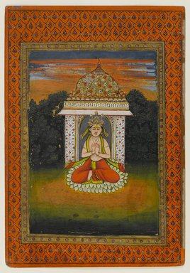 Indian. <em>Miniature Painting, Enshrined Deity</em>, first half 18th century. Opaque watercolors on paper, 10 5/8 x 7 3/8 in. (27 x 18.7 cm). Brooklyn Museum, Brooklyn Museum Collection, X689.3 (Photo: Brooklyn Museum, X689.3_IMLS_PS4.jpg)