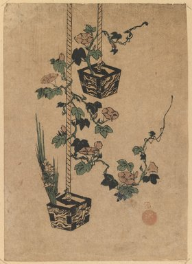 <em>Two Wood Flower Boxes</em>, late 18th century. Color woodblock print on paper, 9 1/4 x 7 1/16 in. (23.5 x 18 cm). Brooklyn Museum, Brooklyn Museum Collection, X691.4 (Photo: Brooklyn Museum, X691.4_IMLS_PS3.jpg)