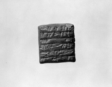 Sumerian. <em>Tablet with Cuneiform</em>, late 3rd millennium B.C.E. Terracotta, 1 1/4 x 9/16 x 1 5/16 in. (3.1 x 1.5 x 3.3 cm). Brooklyn Museum, Brooklyn Museum Collection, X709. Creative Commons-BY (Photo: Brooklyn Museum, X709_view1_bw_SL4.jpg)