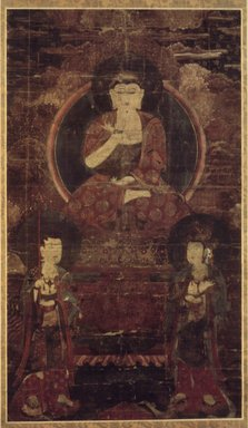 <em>Amitabha Buddha Triad</em>, ca. 16th century. Hanging scroll, ink, color, and gold on hemp, Image: 36 5/16 x 20 7/8 in. (92.2 x 53 cm). Brooklyn Museum, Brooklyn Museum Collection, X715 (Photo: Brooklyn Museum, X715.jpg)