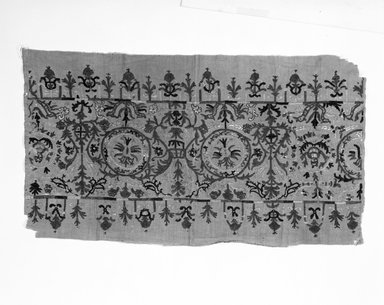 <em>Border Section of Skirt</em>, 18th century. Silk embroidery on linen, 26 3/4 x 21 in. (67.9 x 53.3 cm). Brooklyn Museum, Brooklyn Museum Collection, X727. Creative Commons-BY (Photo: Brooklyn Museum, X727_bw_SL4.jpg)
