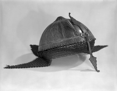 <em>Helmet</em>. Steel inlaid with gold Brooklyn Museum, Brooklyn Museum Collection, X743.2. Creative Commons-BY (Photo: Brooklyn Museum, X743.2_bw_SL4.jpg)