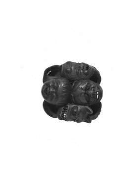 <em>Mask Netsuke</em>, 19th century. Wood, 1 3/8 in. (3.5 cm). Brooklyn Museum, Brooklyn Museum Collection, X747.3. Creative Commons-BY (Photo: Brooklyn Museum, X747.3_view1_cropped_bw.jpg)