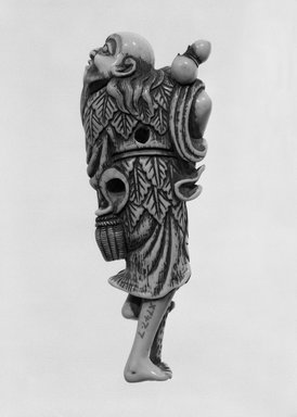 <em>Netsuke</em>, 18th century. Ivory, 1 1/2 x 4 1/4 in. (3.8 x 10.8 cm). Brooklyn Museum, Brooklyn Museum Collection, X747.7. Creative Commons-BY (Photo: Brooklyn Museum, X747.7_back_cropped_bw.jpg)
