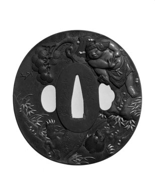 <em>Tsuba (Sword Guard)</em>, 1853. Chiseled iron, inlay of copper, shakudo, and shibuichi; gilding