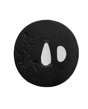 <em>Tsuba (Sword Guard)</em>, 19th century. Iron, iroe, 2 3/4 in. (7 cm). Brooklyn Museum, Brooklyn Museum Collection, X759.11. Creative Commons-BY (Photo: Brooklyn Museum, X759.11_view1_bw.jpg)