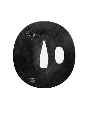 <em>Tsuba (Sword Guard)</em>, 19th century. Shibuichi, iroe, 2 11/16 x 2 1/2 in. (6.8 x 6.3 cm). Brooklyn Museum, Brooklyn Museum Collection, X759.1. Creative Commons-BY (Photo: Brooklyn Museum, X759.1_view1_bw.jpg)