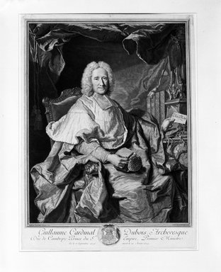 Pierre Imbert Drevet (French, 1697-1739). <em>Guillaume Cardinal Dubois, Archvesque Duc de Cambray, Prince du Empire, Premier Ministre</em>, 1724. Engraving on wove paper, Sheet: 19 3/16 x 14 3/8 in. (48.7 x 36.5 cm). Brooklyn Museum, Brooklyn Museum Collection, X84 (Photo: Brooklyn Museum, X84_bw_SL4.jpg)