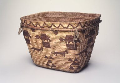 Tsilhqot'in (Chilcotin). <em>Burden Basket</em>, early 20th century. Plant fiber, pigment or dye, buckskin, 9 1/2 x 14 3/4 x 11 1/2 in. (24.1 x 37.5 x 29.2 cm). Brooklyn Museum, Brooklyn Museum Collection, X854.1. Creative Commons-BY (Photo: Brooklyn Museum, X854.1_transp5966.jpg)